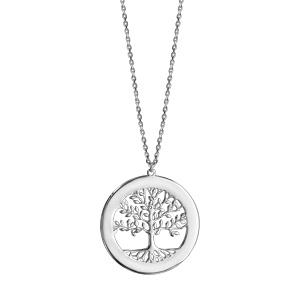 Collier en argent passivé arbre de vie contour à graver 43cm + 2cm - Vue 3