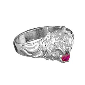 Chevalière lion en argent petit modèle avec oxyde rouge entre les dents - Vue 3