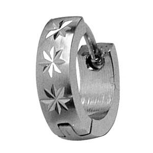 Créoles en acier articulées légèrement bombées diamantage motifs étoilés - Vue 3