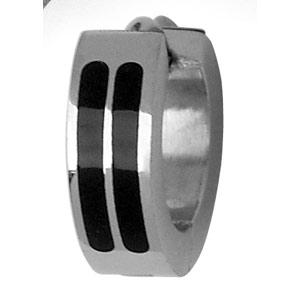Créoles articulées en acier et 2 bandes en résine noire - Vue 3