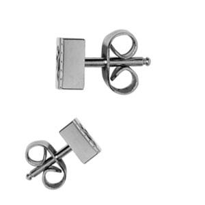 Boucles d\'oreilles en acier rectangle avec gravure motif tribal noir et fermoir clou avec poussette - Vue 3