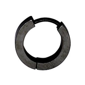 Créoles articulées en acier noir rainure et ronds brillants sur le côté - Vue 3