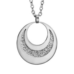 Collier en acier pendentif 2 cercles avec glitter à graver 60cm réglable 45/50/55cm - Vue 3