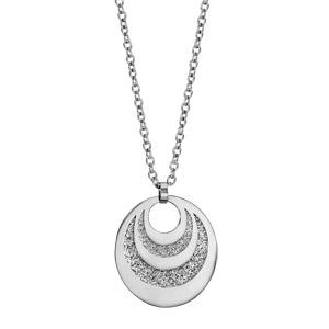 Collier en acier pendentif 3 cercles avec glitter à graver 60cm réglable 45/50/55cm - Vue 3