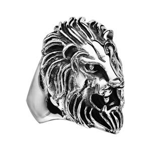 Chevalière en acier patiné tête de lion de face - Vue 3