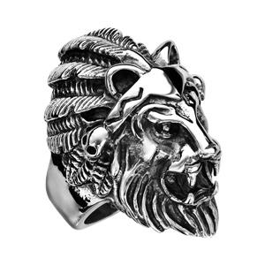 Chevalière en acier patiné tête de lion avec plume - Vue 3