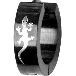 Créoles articulées en acier noir motif salamandre - Vue 3