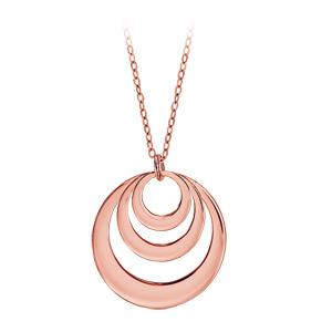 Collier en plaqué or rose chaîne avec pendentif 3 anneaux à graver - longueur 40cm + 5cm de rallonge - Vue 3