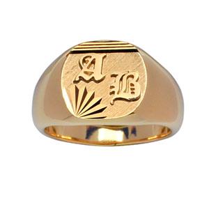 Chevalière en plaqué or plateau ovale brossé en biais, strié en haut et ciselé en étoile dans 1 angle - Vue 3