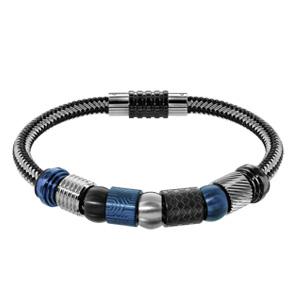 Bracelet en acier et PVD noir mélangé tressé pour charms et fermoir aimant et vis - longueur 21cm - Vue 3