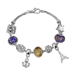 Bracelet en argent rhodié chaîne tube serpent pour charms - longueur 21cm fermoir mousqueton - Vue 3