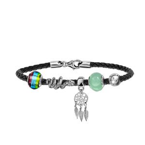 Bracelet en cuir noir tressé pour charms et fermoir en argent rhodié - longueur 17,5cm - Vue 3