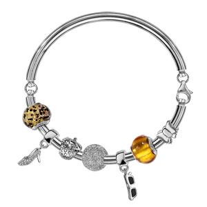 Charms Thabora en argent rhodié et verre de Murano véritable doré moucheté noir et marron - Vue 3