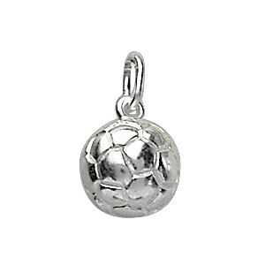 Image of Pendentif Ballon de foot en argent rhodié - petit modèle