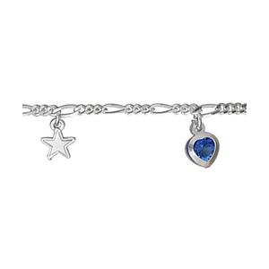 Chaîne de cheville en argent avec pampilles étoiles et coeurs en oxydes bleus foncés alternés - longueur 25cm