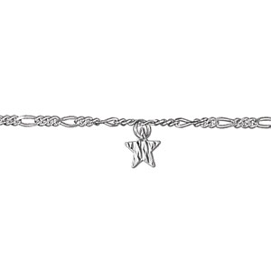 Image of Chaîne de cheville en argent avec 3 pampilles étoiles