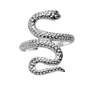 Bague de doigt de pied en argent serpent piqué