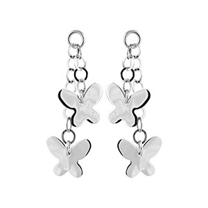 Boucles D'oreille argent rhodié pendant chainettes et papillons