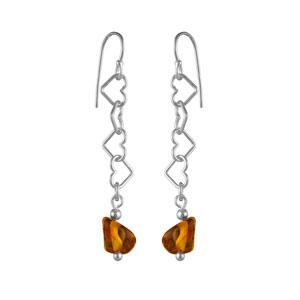 Boucles D'oreilles crochet argent motifs coeurs ambre véritable