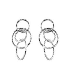 1001 Bijoux - Boucles d'oreilles argent 4 anneaux diamantés entrelacés fermoir tige pas cher