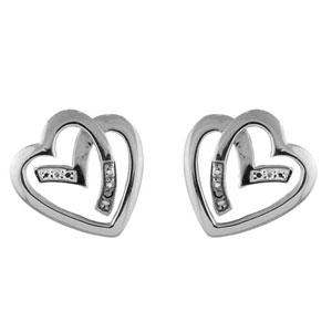Boucles D'oreilles en argent brin qui forme 1 coeur stylisé avec oxydes blancs et noirs aux extrémités du brin et fermoir tige à poussette