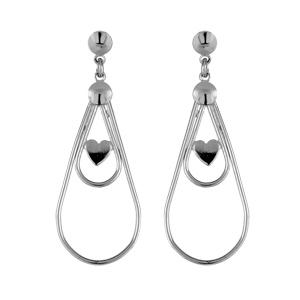 Boucles D'oreilles pendantes en argent rhodié 2 gouttes de taille différente avec 1 coeur au milieu et fermoir tige à poussette
