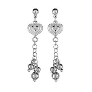 Boucles D'oreilles argent rhodié pendantes coeur + 3 boules et fermoir poussette