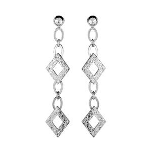 1001 Bijoux - Boucles d'oreilles argent rhodié 2 motifs losange martelés et fermoir poussette pas cher