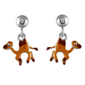 Boucles D'oreille enfant argent rhodié chameau
