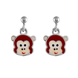 Boucles D'oreille enfant argent rhodié tête de singe marron