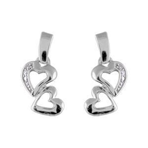 Boucles D'oreilles en argent rhodié petite barrette qui soutient 2 coeurs découpés et fermoir tige à poussette