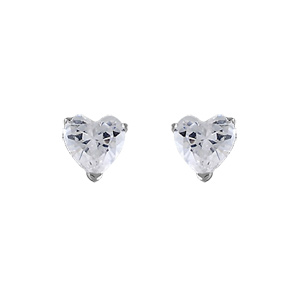 Boucles D'oreilles en argent rhodié oxyde blanc en forme de coeur et fermoir tige à poussette