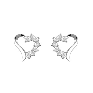 Boucles D'oreilles en argent rhodié coeur avec 1 moitié en oxydes blancs et fermoir tige à poussette