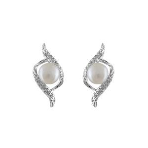1001 Bijoux - Boucles d'oreilles argent rhodié perle imitation crème et petites pierres synthétiques blanches pas cher