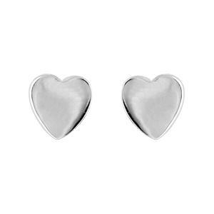 Boucles D'oreilles en argent rhodié coeur lisse et fermoir tige à poussette