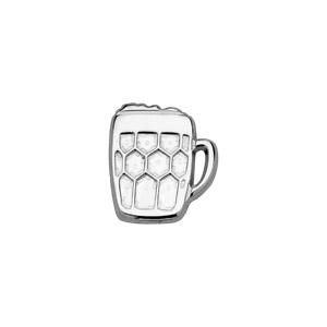Boucle D'oreille pour homme en argent rhodié bock de bière fermoir tige à poussette