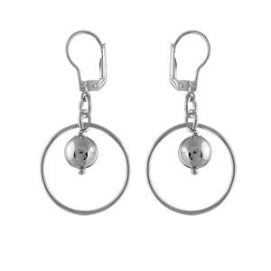 Boucles d 39 oreilles pendantes en argent rhodi cercle avec for Interieur oreille