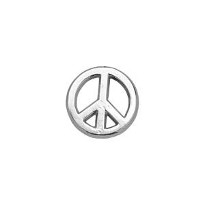 Boucle D'oreille pour homme en argent rhodié peace & love fermoir tige à poussette