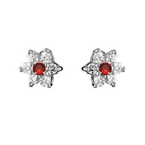 1001 Bijoux - Boucles d'oreilles argent rhodié fermeture tige marguerite pierre centrale route et contour pierres blanches pas cher