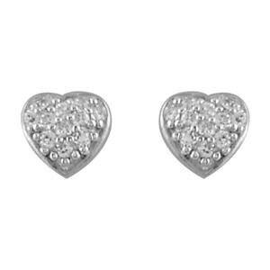 Boucles D'oreilles en argent rhodié coeur orné d'oxydes blancs et fermoir tige à poussette