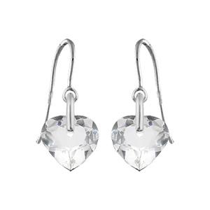 Boucles D'oreilles pendantes en argent rhodié coeur en cristal synthétique et fermoir crochet