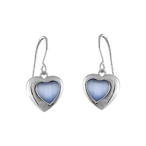 Boucles D'oreille argent rhodié crochet coeur oeil de chat bleu