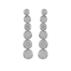 1001 Bijoux - Boucles d'oreilles argent rhodié pendantes 6 pierres synthétiques blanches articulée et serties clos pas cher