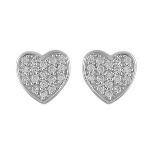 Boucles D'oreilles en argent rhodié coeur pavé d'oxydes blancs et fermoir tige à poussette