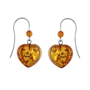 Boucles D'oreilles argent rhodié crochet coeur ambre véritable