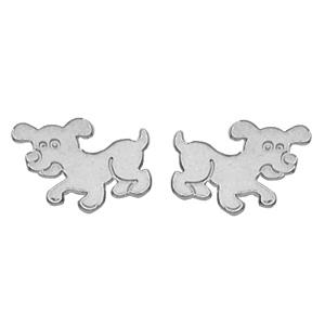 Boucles D'oreille chien argent rhodié