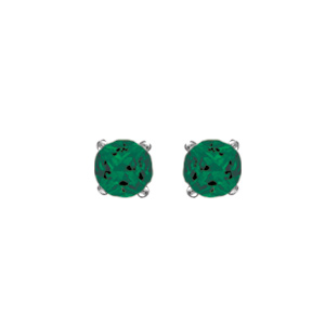 Boucles d 39 oreilles en argent rhodi oxyde vert de 4mm serti 4 griffes et fermoir tige poussette - Poussette de boucle d oreille ...