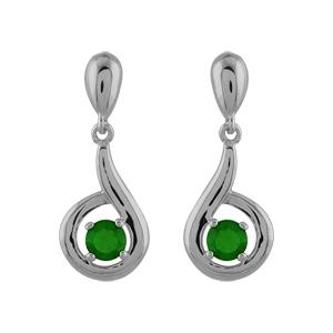 1001 Bijoux - Boucles d'oreille argent rhodié pendante pierre verte pas cher
