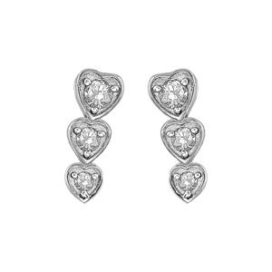 1001 Bijoux - Boucles d'oreille tige argent rhodié 3 coeurs pendants pierres blanches pas cher