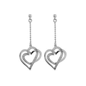 Boucles D'oreilles pendantes en argent rhodié chaînette boules avec 2 coeurs entremêlés à l'extrémité, 1 lisse et l'autre ouvragé et fermoir tige à poussette